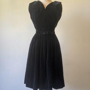 Vintage 50s belted black Velvet dress